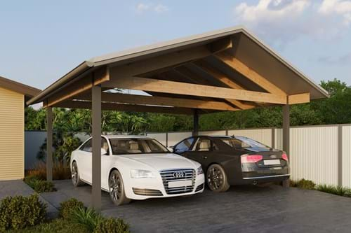Download Double Carport Gable Roof - Exposed Finish