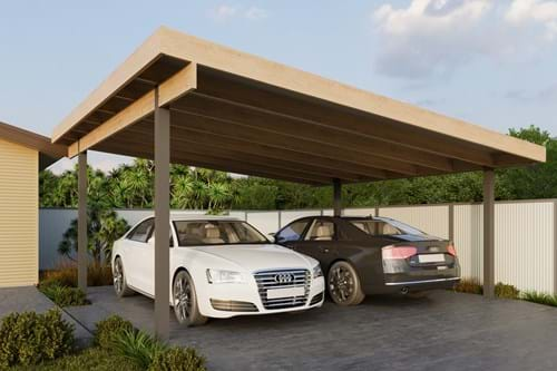 Download Double Carport Skillion Roof - Exposed Finish